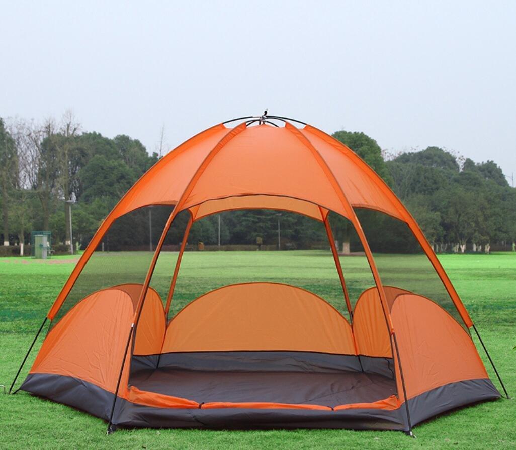 HYCy Doppeltes Hexagon-Strand-Zelt 5-8 Leute-Camping-Yurts Kampierende Im Freien Wasserdichte Ausrüstung Im Freien