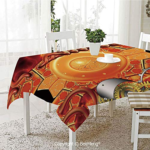 (BeeMeng Large dustproof Waterproof Tablecloth,Family Table Decoration,Copper Decor,Steampunk Retro Mechanism Antique Engine Gear Ancient Old Technology Vibrant,Multicolor,70 x 104)