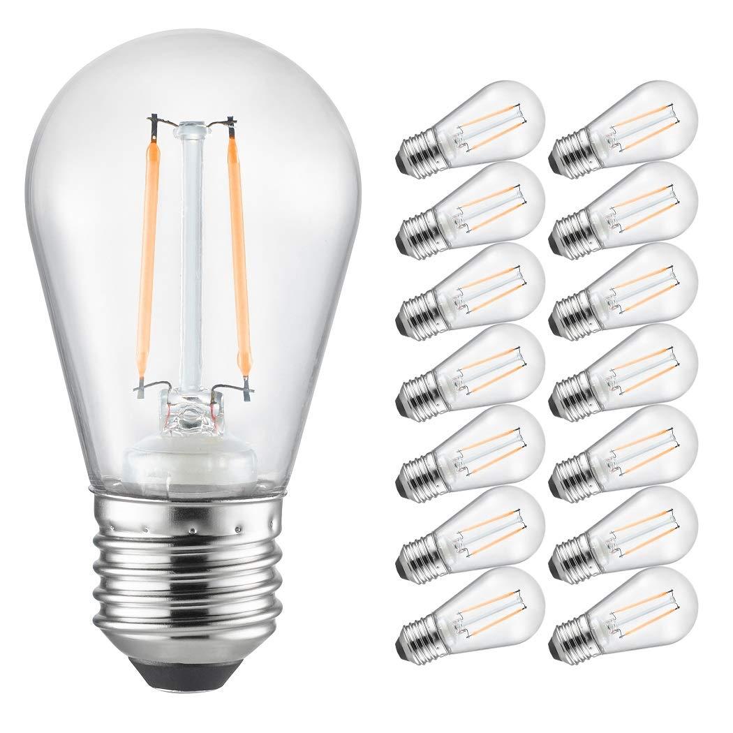 Otronics s14 led bulbs15 pack shatterproof outdoor string lights yellow bulbsenergy saving 0 8w light bulbs w e26 base