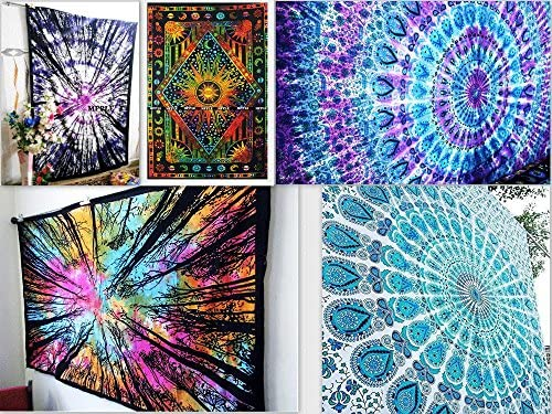 FUTURE HANDMADE Pack of 5 Twin Tapestries Ombre Indian Mandala Tapestries from India Wall Tapestries Wholesale Indian Printed Tapestries Sun Moon Stars Indian Cotton Bedspreads