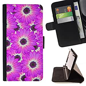 For Samsung Galaxy A5 ( A5000 ) 2014 Version Case , Flor Blanca Modelo rosado- la tarjeta de Crédito Slots PU Funda de cuero Monedero caso cubierta de piel