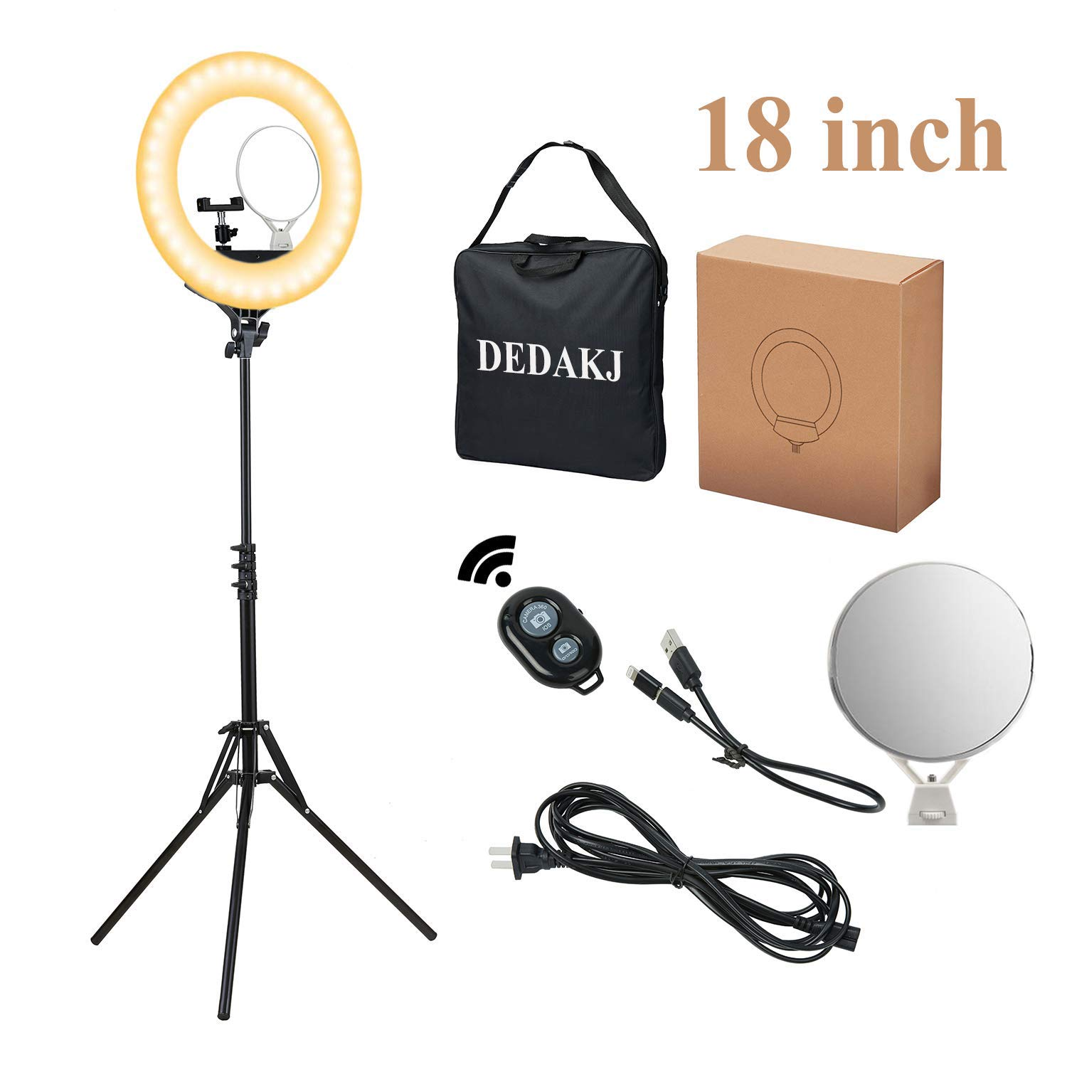 Ring Light, DEDAKJ 18 inch 480 pcs 80W Dimmable LED Ring Light with Cell Phone Holder/Tripod Stand/Remote Control/Carrying Bag and Dual Mirror for YouTube Videos/Take Pictures/Makeup O Ring Light by DEDAKJ