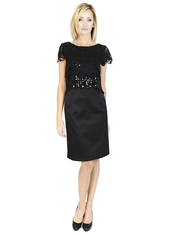 Hunters & Gatherers Midi short sleeve little black dress Scoop neckline Party, cocktail Vintage Lace and Sequin Black Dress
