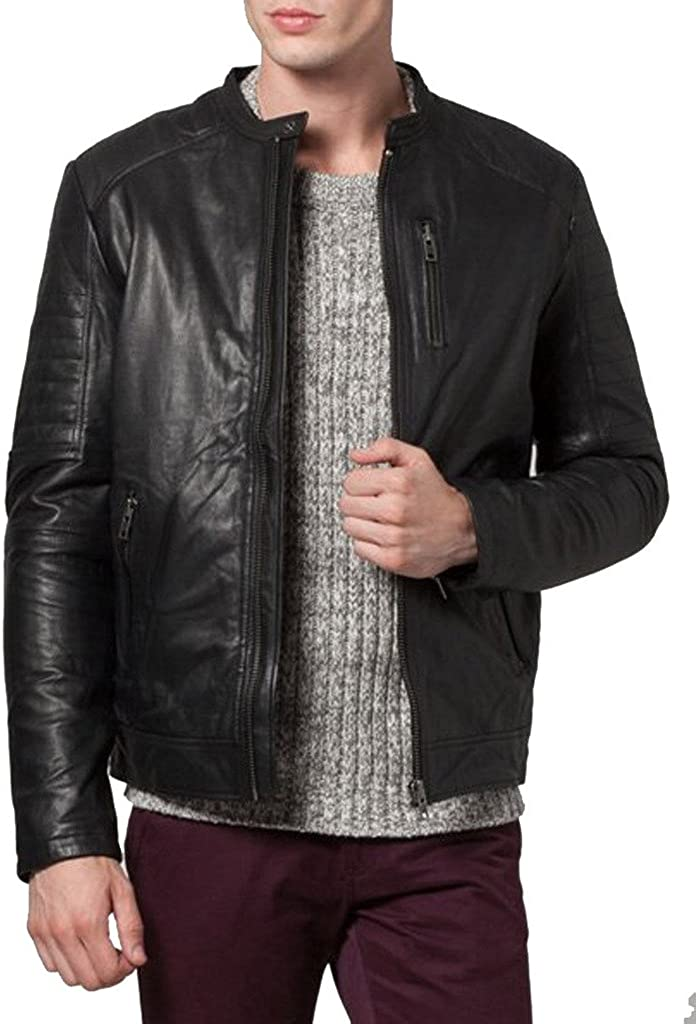 New Mens Leather Jacket Black Slim Fit Biker Motorcycle Genuine Leather Coat LTC332