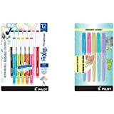 PILOT FriXion Fineliner Erasable Marker Pens, Fine Point, Assorted Color Inks, 12-Pack (11452) & FriXion Light Pastel…