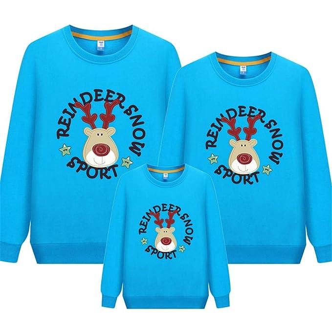 Sudadera Familia De Padres E Hijos De Una Familia De Tres Alces De Dibujos Animados Suéter De Navidad De Manga Larga con Cuello Redondo De Algodón, ...