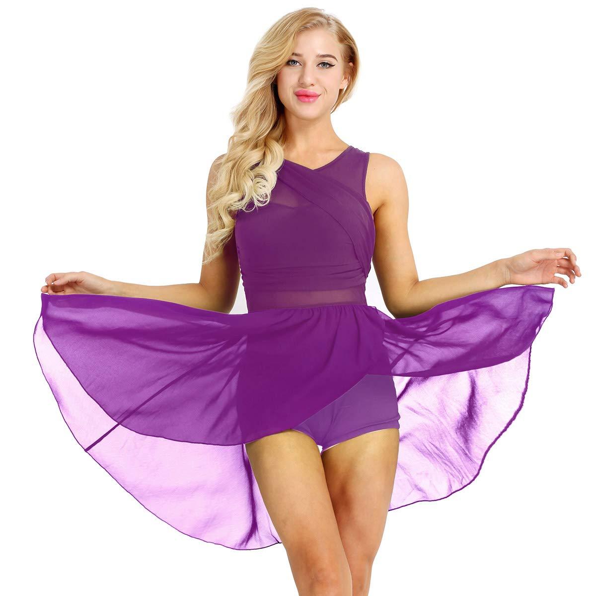 iiniim Damen Ballett Trikot Tanzkleid mit Asymmetrisch Rock Ballettanzug Ballett Latein Kleid Gymnastik Turnanzug Leotard Kleid XS-XL