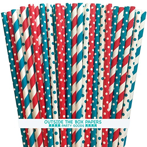 Dr. Seuss Themed Paper Straws - Red White Teal Blue - 7.75 Inches - Pack of 125 - Outside the Box Papers Brand