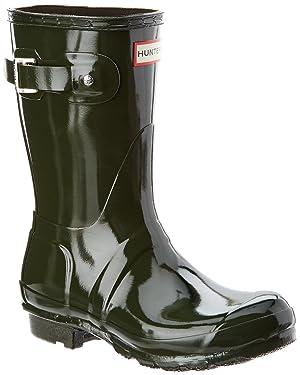 Hunter Women's Original Short Gloss Boot, 8, Green