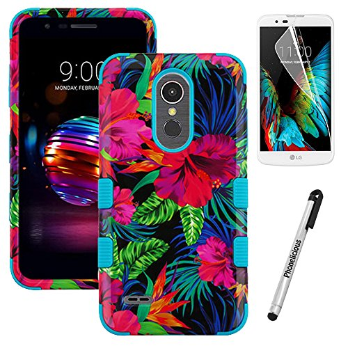 Phonelicious Phone Cover for LG K30 / LG Premier PRO 4G LTE / L413DL / L413DG Case Military Grade Drop Tested with Clear Screen Protector and Stylus (Electrical Hibiscus)