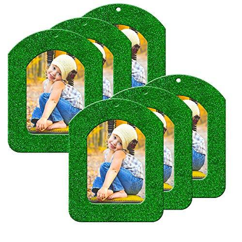 Mini Magnetic Glitter Christmas Photo Ornaments - 6-Pack, Vertical - Green