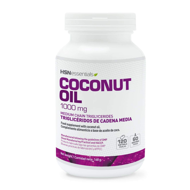 Aceite de Coco Virgen (Coconut Oil) de HSN Essentials - Ácidos Grasos de Cadena Media (MCT's) Acelera el metabolismo, saciante, pérdida de peso - 1000mg - 120 perlas