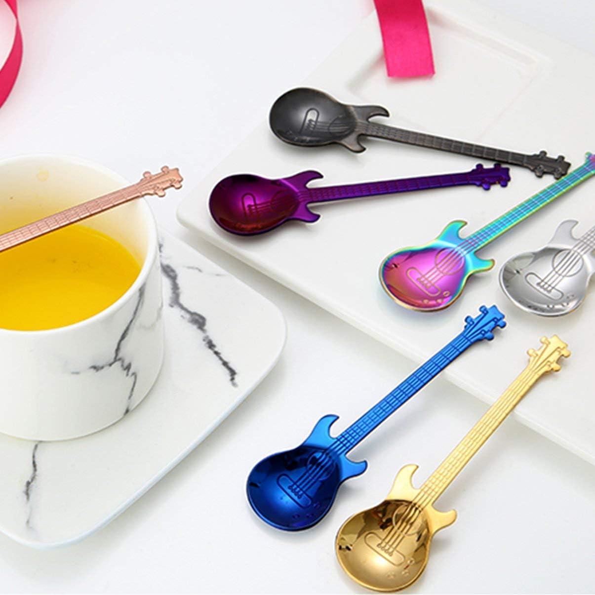 FHJZXDGHNXFGH Guitar Coffee Spoon Set Stainless Steel Dessert Ice Cream Spoon Tea Spoon Coffee Accessories Flatware Drinking Tools