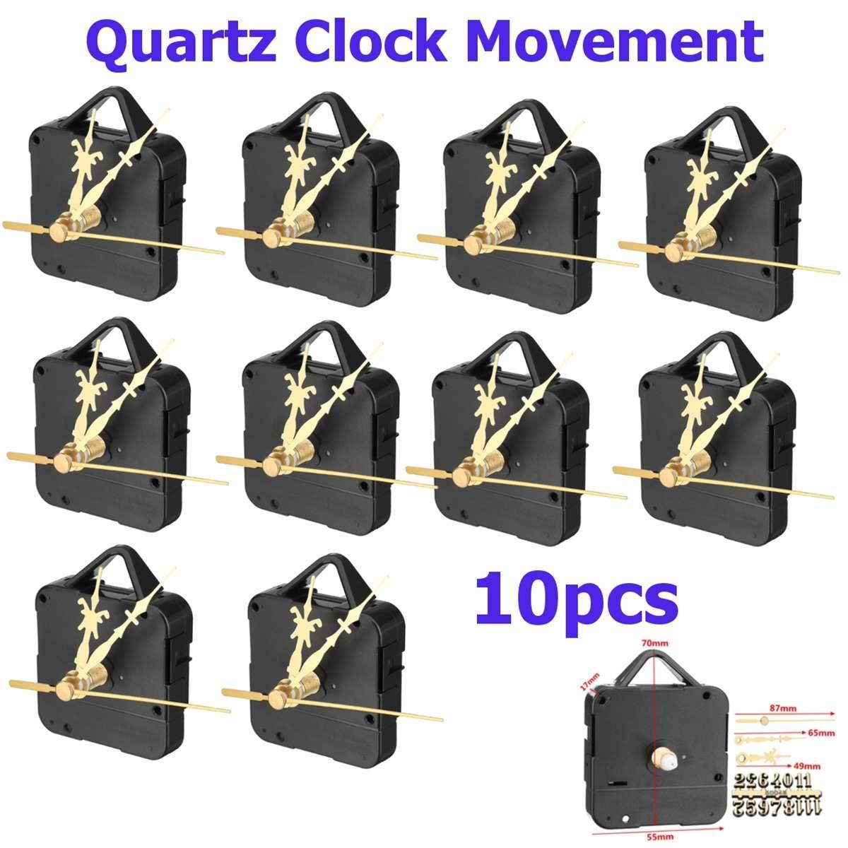 Maslin 10 PCS Silent Quartz Clock Movement Kit with Gold Digital Card Hour Minute Second Hand Quartz for Tide Clock Movement