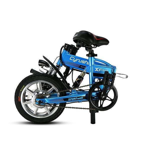 Cyrusher® XF600 Azul Bicicleta Eléctrica 240W 36V Bicicleta de Viaje Bicicleta Batería de Litio Bicicleta Plegable Suspensión Completa Frenos de Disco Doble ...