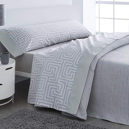 Barceló Hogar 03060160226 Juego de sábanas, modelo Estocolmo, algodón 100%, gris, 90 cm: Amazon.es: Hogar