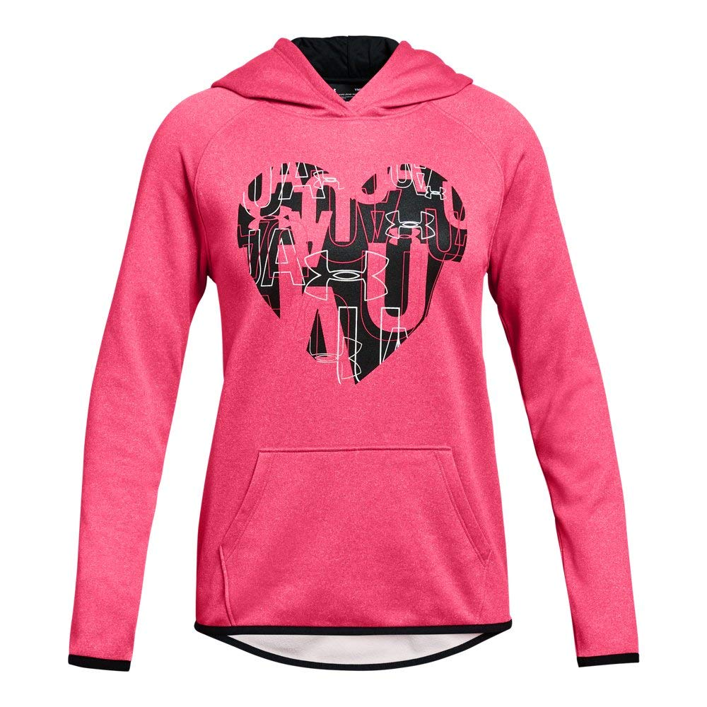 Under Armour Girls Armour Fleece Hoodie Heart Icon, Penta Pink Light Hea (975)/Black, Youth Small by Under Armour