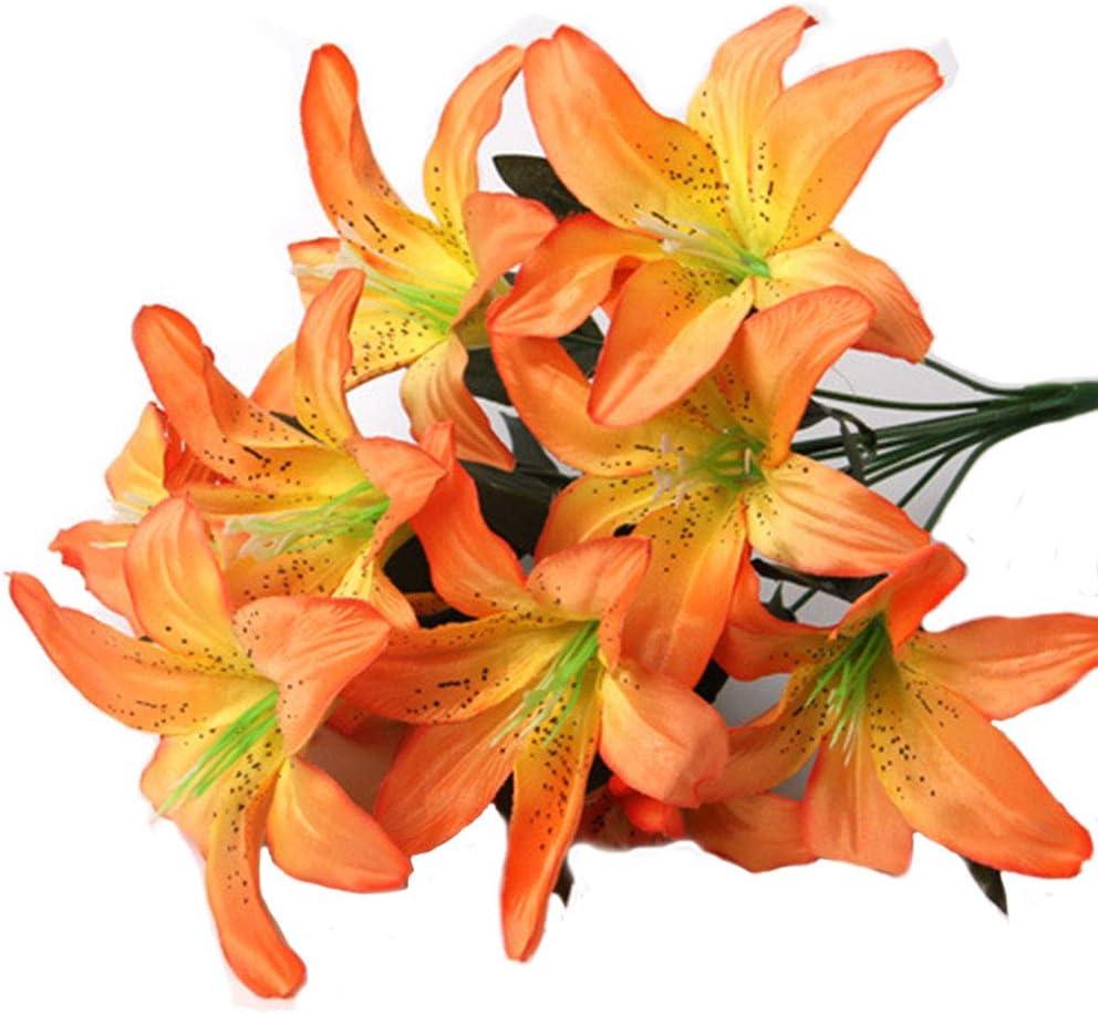 Artfen Artificial Lily 10 Heads Fake Lily Artificial Flower Wedding Party Decor Bouquet Home Hotel Office Garden Craft Art Decor Orange