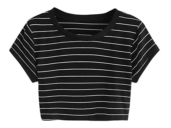 0dc28eeb2a1 SweatyRocks Women s Short Sleeve Striped Crop T-Shirt Casual Tee Tops Black  XS