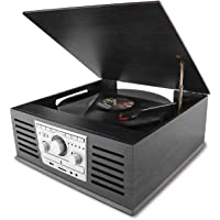 D&L Classic Record Player with AM/FM for Smartphones and RCA Output (Black)