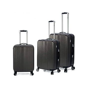 Juego de 3 maletas Trolley con 4 ruedas multidireccionales Color Negro. Estructura rígida.: Amazon.es: Equipaje