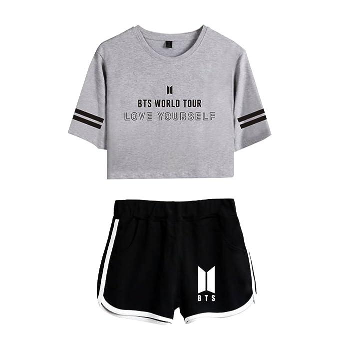 CTOOO Nuevo BTS World Tour Love Yourself Ombligo Expuesto Camiseta Shorts Traje De Mujer: Amazon.es: Ropa y accesorios