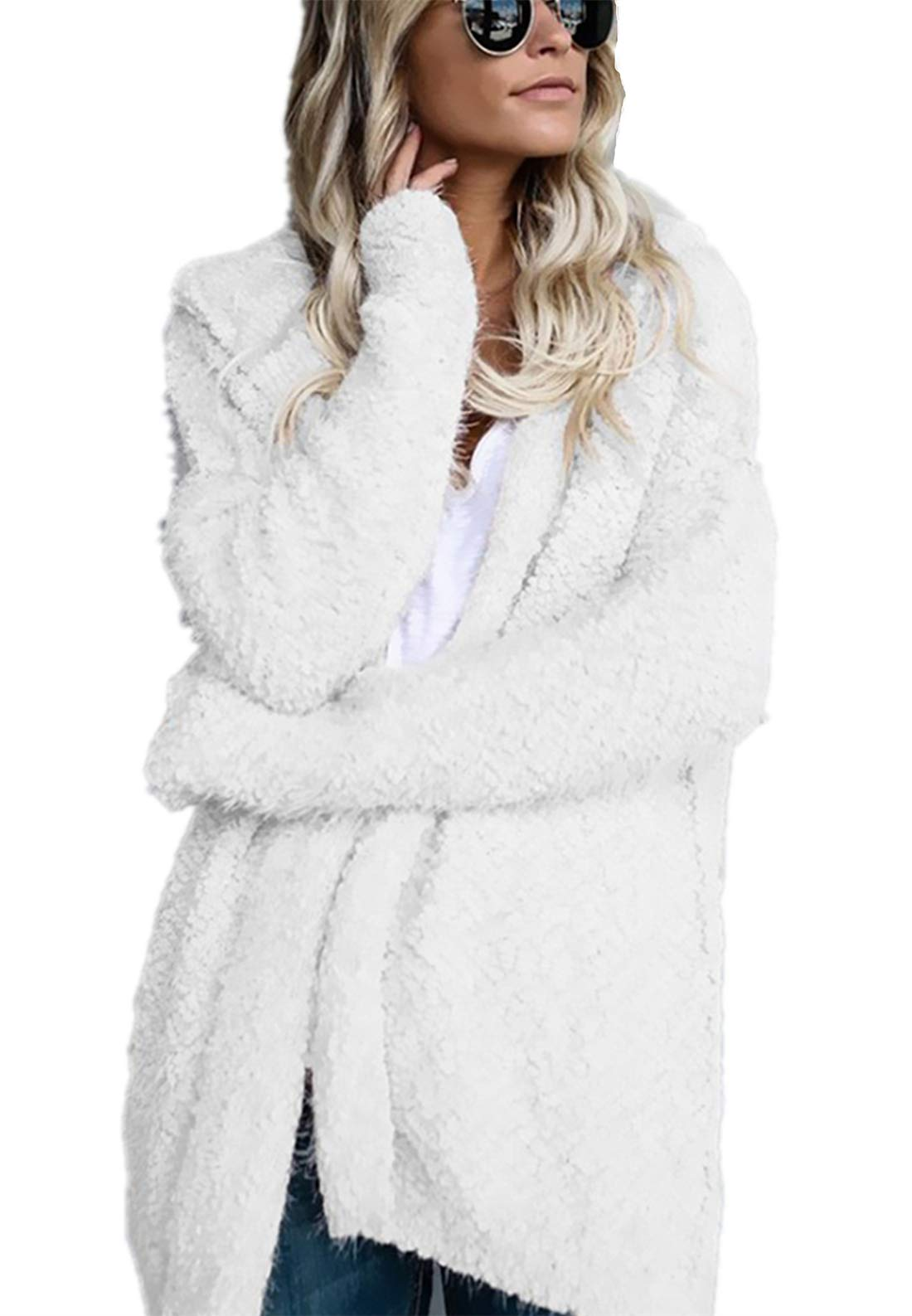 Happy Sailed Women Fuzzy Fleece Jackets Loose Open Front Hooded Cardigan Winter Coats Daily Outwear X-Large White