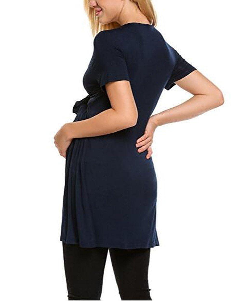 AILIENT Femme Long T-Shirt de Maternit/é Confortable Blouse /à Manches Courtes T-Shirt dallaitement T-Shirt D/ét/é Col Rond Grossesse Tunique