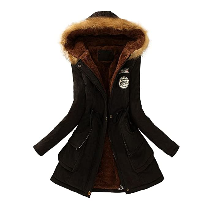 Abrigo Mujer Elegante Felpa Zipper Talla Grande Chaqueta Acolchada Parka con Capucha Pelo Invierno Outwear (