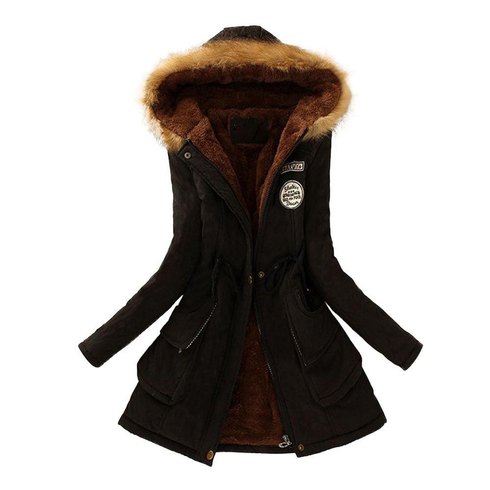 WEUIE Womens Jacket Womens Tops Clearance Women Warm Long Coat Fur Collar Hooded Jacket Winter Parka Outwear(US-6/CN-M, Black)