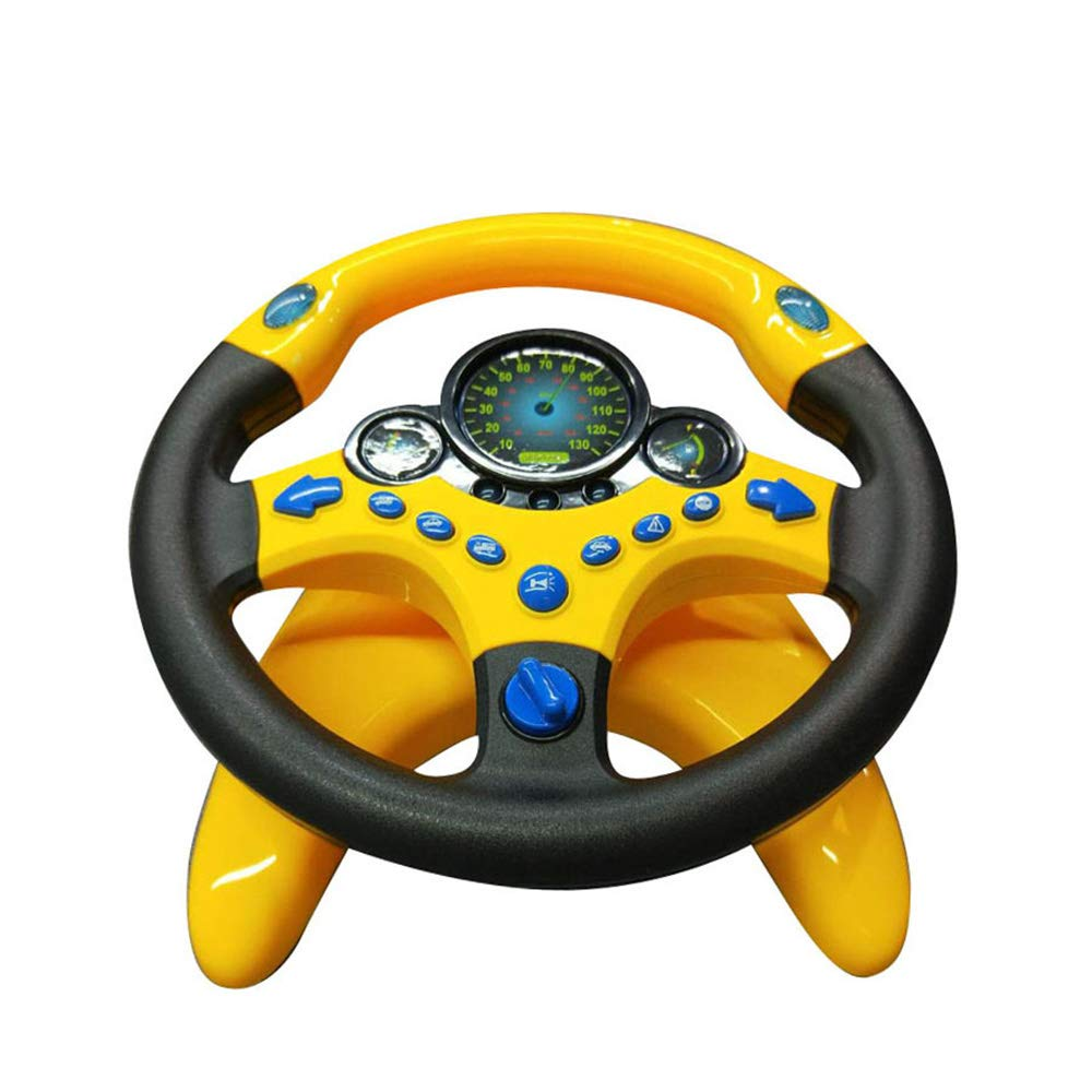 LAMF Steering Wheel Toy with Light and Sounds for Children Baby Childhood Educational Driving Simulation Funny Childrens toys in the car