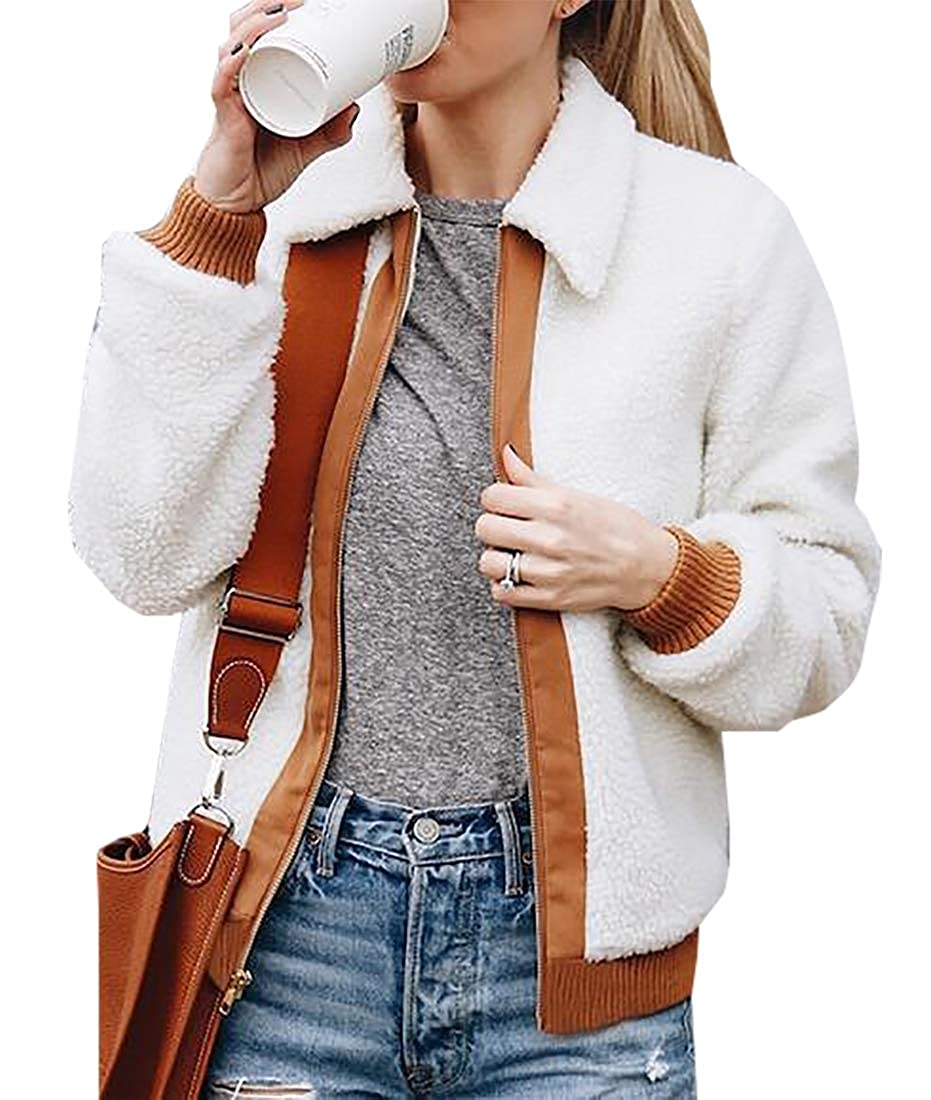 Sanderso Women's Fashion Long Sleeve Lapel Zip Up Faux Shearling Shaggy Jacket