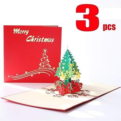 Tarjeta Felicitacion 3D Navidad Feliz Regalo de Saludo Felicitación (3)
