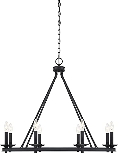 Black Modern Farmhouse Chandeliers Wagon Wheel