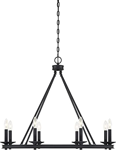 """Black Modern Farmhouse Chandeliers Wagon Wheel, Industrial 8 Lights Iron Lighting Candle Style 33"""", Rustic Hanging Ceiling Light Fixture Dining Room Kitchen Island Bedroom Living Room Foyer Hallway"""