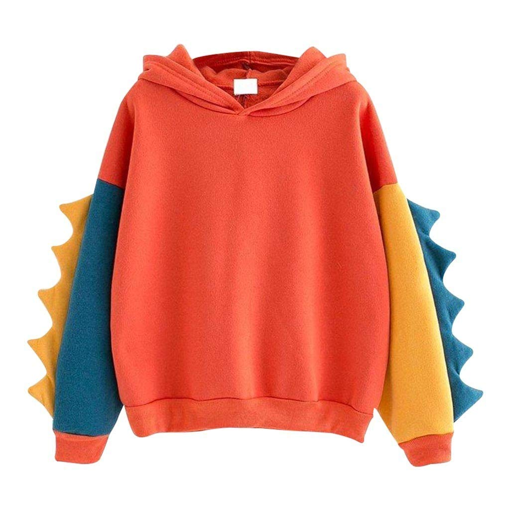 Xinantime Womens Sweatshirt Long Sleeve O-Neck Splice Dinosaur Casual Loose Top Blouse Orange by Xinantime