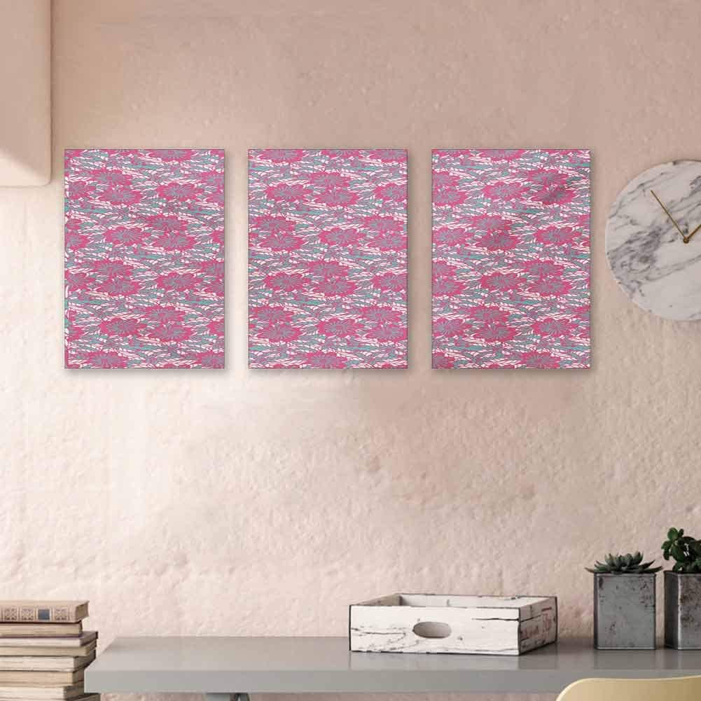 "MartinDecor Doodle Oil Canvas Painting Illustration of Blossoming Nature Abstract Pastel Toned Design Canvas Wall Art Decorations for Kids Room, 24""x47""x3 Piece Pink Pale Sea Green Pale Pink"