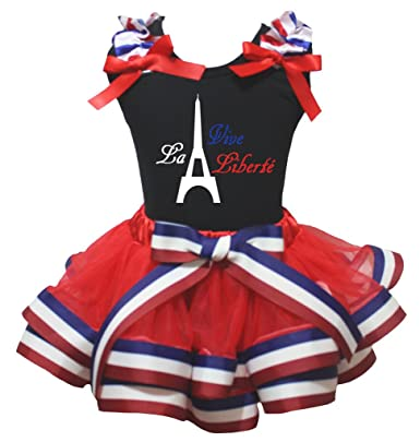 Petitebella Independent USA Patriotic Stars Blue Shirt Red Petal Skirt Set Nb-8y