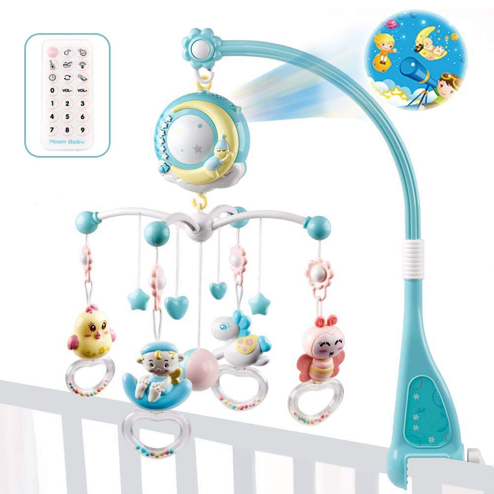 Nachtlicht Mit Beruhigender Musik 3-in-1 Baby Musikmobil Und Projektor Und Licht Mit Halterung F/ür Babybett Spielzeug H/ängende Rotierende Rasseln Und Ferngesteuerte