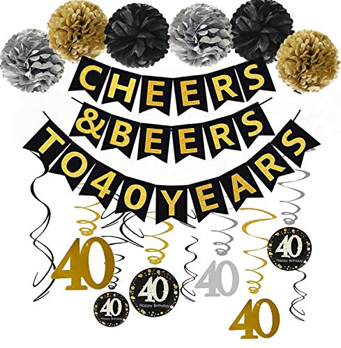 Gold Glittery Cheers & Beers to 40 Years Banner,Poms,Sparkling 40 Hanging Swirls Kit for 40th Birthday Party 40th Anniversary Decorations Favors Supplies