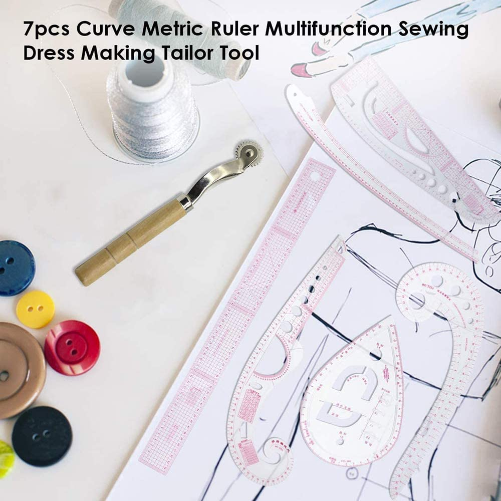 DYJKOUG 7Pcs //Set Multifunction Sewing Measure Ruler Tools Plastic French Curve Metric Rulers for Bendable Drawing Template DIY Clothing Dress Making,Perfect for Designers,Pattern Maker and Tailors