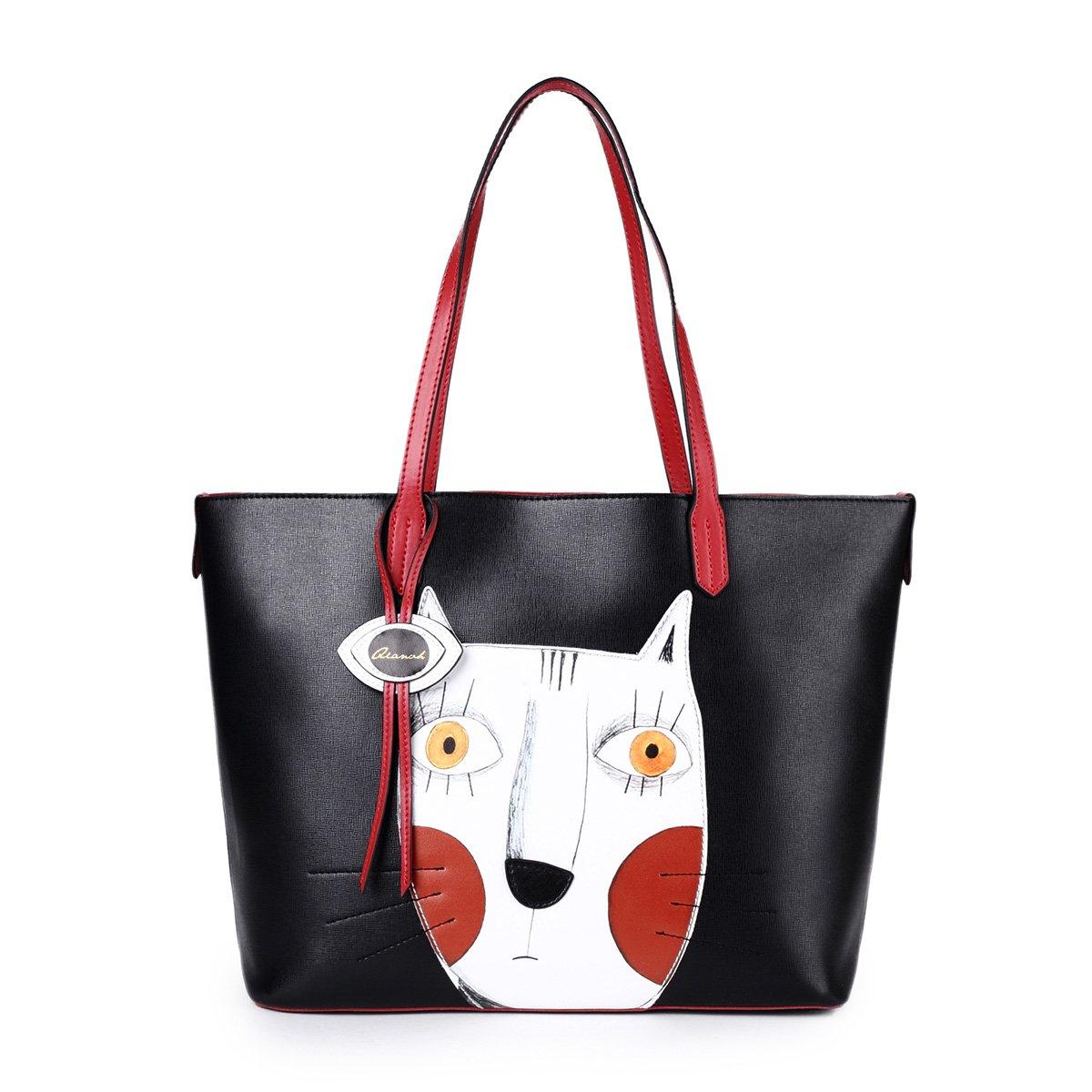 Cat Handbags for Women Leather Crossbody Cute Tote Designer Shopping Purse  Large Cross Body Shoulder Ladies Bag Black  Amazon.co.uk  Luggage 66df2aab640bb
