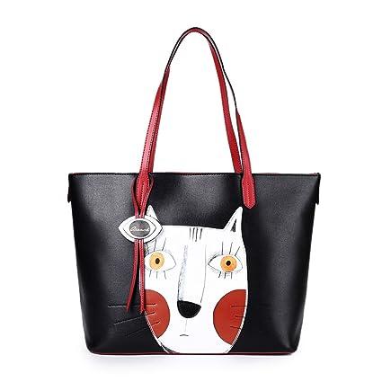 4187d2dc721 Cat Handbags for Women Leather Crossbody Cute Tote Designer Shopping Purse  Large Cross Body Shoulder Ladies Bag Black
