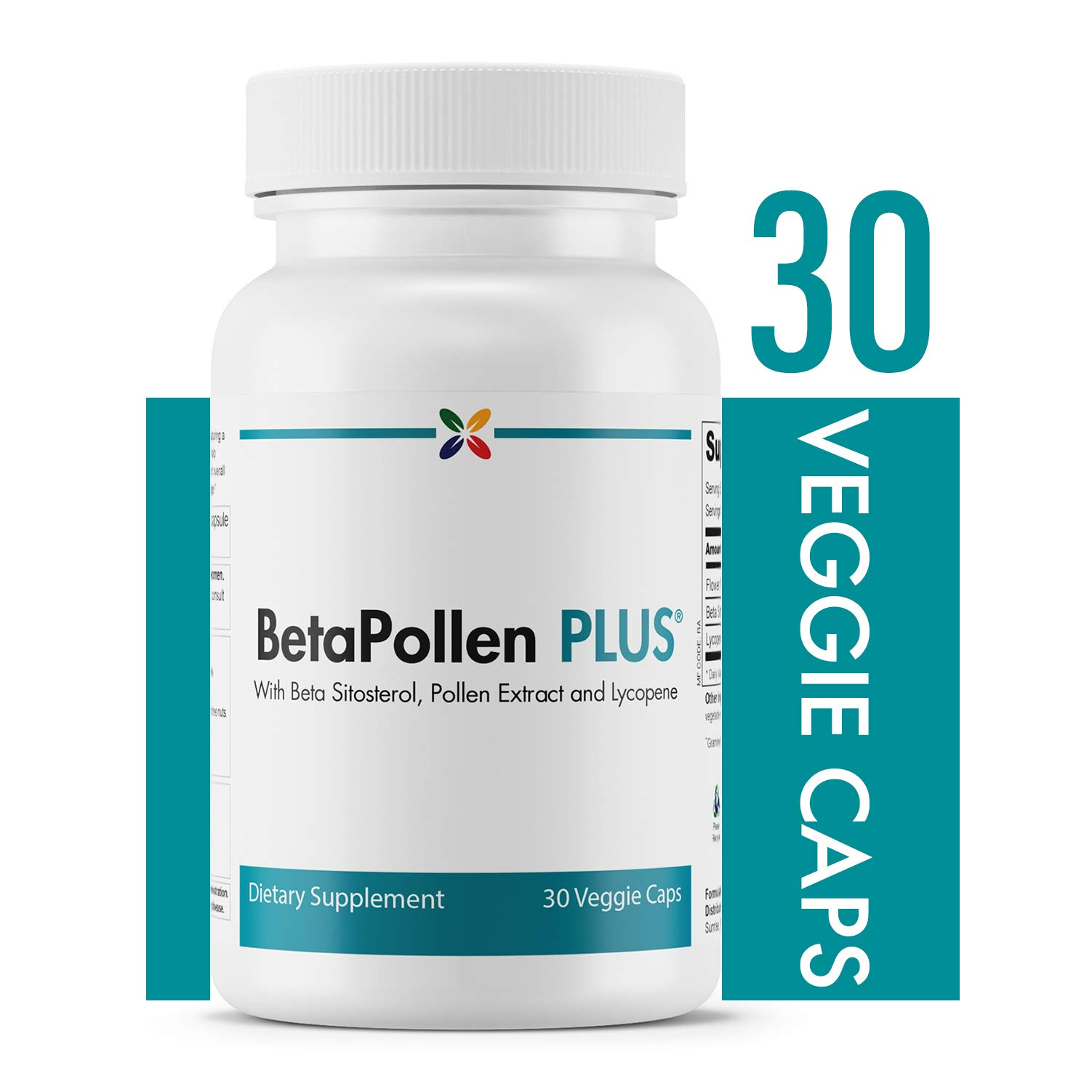 Prostate Support with Beta Sitosterol, Pollen Extract and Lycopene - BetaPollen Plus Prostate Support - Stop Aging Now - 30 Veggie Caps by BetaPollen Plus