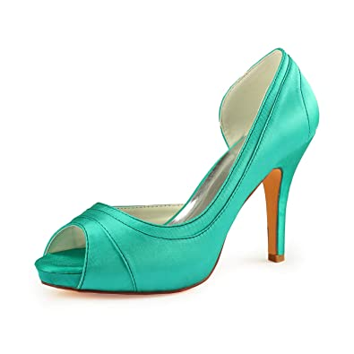 6098a418631f8 Amazon.com | Emily Bridal Pleated Platform Peep Toe Satin Bridal ...