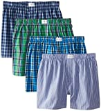 Tommy Hilfiger Men's 4-Pack Green and Blue Woven Boxer