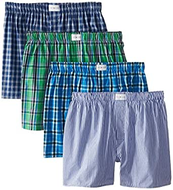 Tommy Hilfiger Men's Blue and Green Woven Boxers, Multi, Large (Pack of 4)