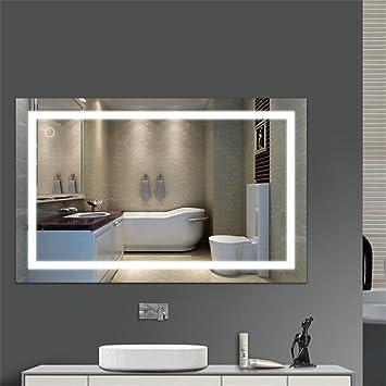 Flyelf 100 * 60CM Miroir Mural De Salle De Bains, Avec La Lumière 23W,