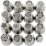 Russian Piping Tips Set (29-Piece Kit)   15 Stainless Steel Icing Nozzles, 1 Leaf Tip, 10 Disposable Pastry Bags, 2 Couplers & 1 Brush   Flower Frosting Tools for Cake, Cookie, Cupcake Decoration