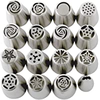Russian Piping Tips Set (29-Piece Kit) | 15 Stainless Steel Icing Nozzles, 1 Leaf Tip, 10 Disposable Pastry Bags, 2 Couplers & 1 Brush | Flower Frosting Tools for Cake, Cookie, Cupcake Decoration